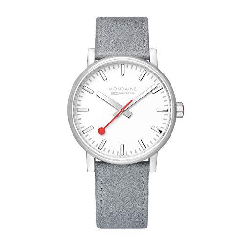 Mondaine SBB Evo2 Grey Leather Strap White Dial 40mm MSE.40110.LH