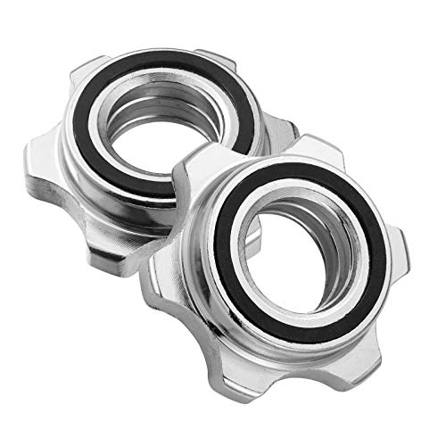 Garneck 2pcs Standard Barbell Spin-Lock Collars Screw Clamps Anti-Slip Spin-Lock Collars for Dumbell Weight Lifting 1 inch(Silver) (2pcs)