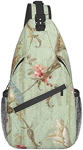 Bolso bandolera de moda adecuado para viajes diarios, deportes al aire libre, senderismo, el pájaro azul francés, cama de la cabaña, colección de pecho..