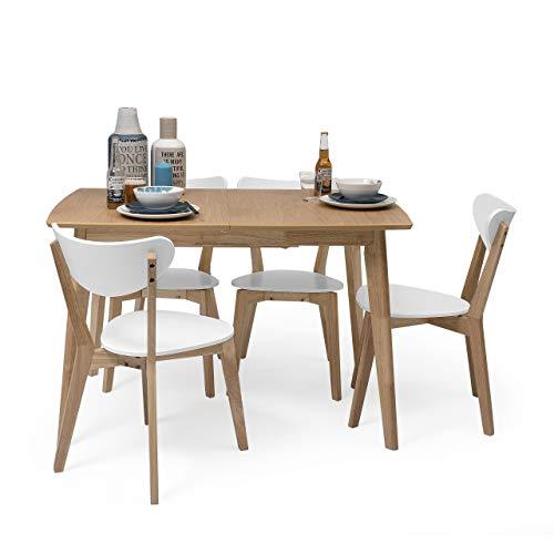 Homely - Conjunto de Comedor de diseño nórdico MELAKA Mesa Extensible de 120/160x80 cm Roble y 4 sillas Blancas