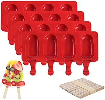 4-Pack Seneryla Silicone Popsicle BPA Free Reusable Ice Molds
