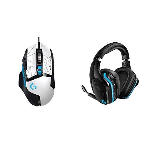 Logitech G502 Hero K/DA Souris Gaming Filaire Haute Performance + G935 Casque Gamer Sans Fil