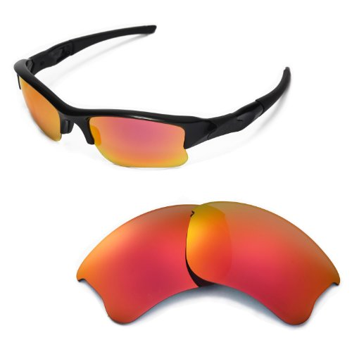 Walleva Replacement Lenses for Oakley Flak Jacket XLJ Sunglasses - Multiple Options Available (Fire Red Mirror Coated - Polarized)