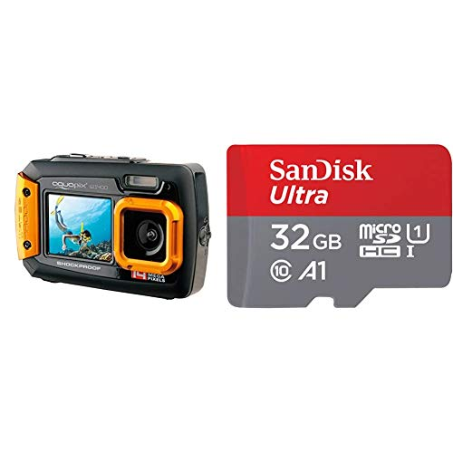Easypix W1400 Active - Cámara de Fotos subacuática (Doble Pantalla, 20 MP,Zoom 4X, Sumergible 3 m), Color Negro/Naranja + SanDisk SDSQUA4-032G-GN6MA Clase 10, U1, 32 GB, Rojo/Gris