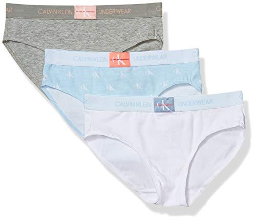 Calvin Klein Girls' Little Cotton Stretch Underwear Monogram Bikini, 3 Pack-Heather Grey/Signature White/Light Blue, Medium