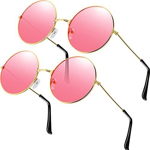 2 Stück Brille Rosa Runde Hippie Brille Retro Hippie Brille Hippie Kostüm Brille Herren Damen Brille