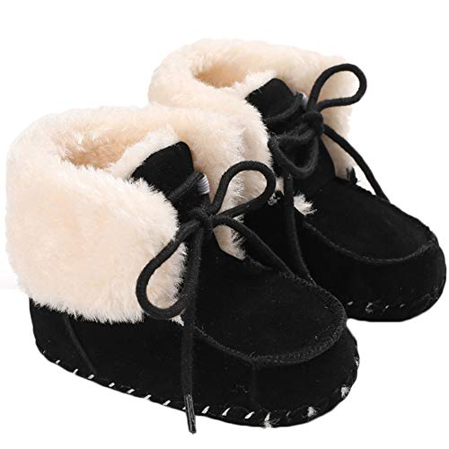 COSANKIM Baby Kids Boys Girls Snow Boots Cozy Fur Non Slip Toddler First Walker Outdoor Winter Shoes (Toddler/Little Kid) , 7 M US Toddler, A-Brown Kids Boots