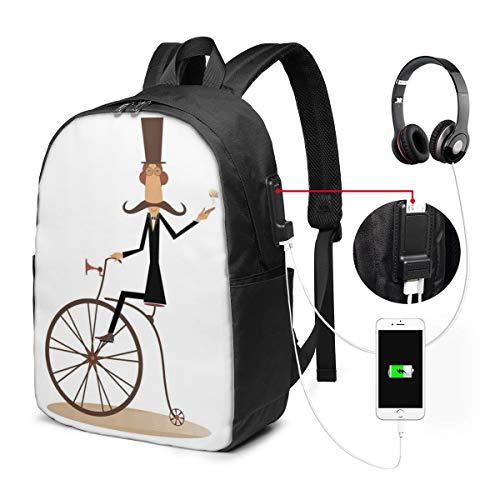 Usicapwear rugzak, Gentleman met snor top hoed paraplu retro fiets en roken een sigaar