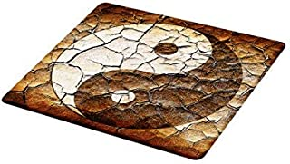 Lunarable Ying Yang Cutting Board, Picture of Yin Yang Sign Painted on Cracked Earth Soil Art Graphic Design, Decorative Tempered Glass Cutting and Serving Board, Small Size, Beige Brown