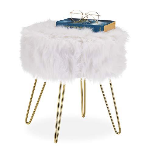 Relaxdays Fellhocker, Kunstfell, Metallgestell, rund, flauschig, eleganter Schminktischhocker, HxD 40 x 38 cm, weiß/Gold
