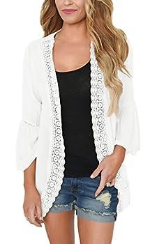 PRETTODAY Women s Lace Chiffon Cardigan Loose Kimono Blouse Top  Medium White