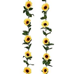 LSKY 2Pc 7.3ft/pc Artificial Sunflower Garland with 20pc Sunflower Heads Silk Flower Ivy Vine Garland Sunflower Decor for Home Kitchen Wedding Arch Baby Shower Decor