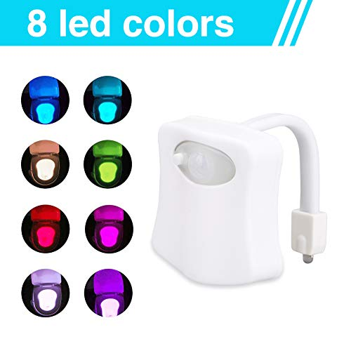 Led Toilettenlicht, WC Licht Led Lampe WC Beleuchtung mit Bewegungsmelder Badezimmer Motion Sensor Beleuchtung Toilettenlicht Badezimmer Licht, Batteriebetrieben, 8 Farben Wechselnde