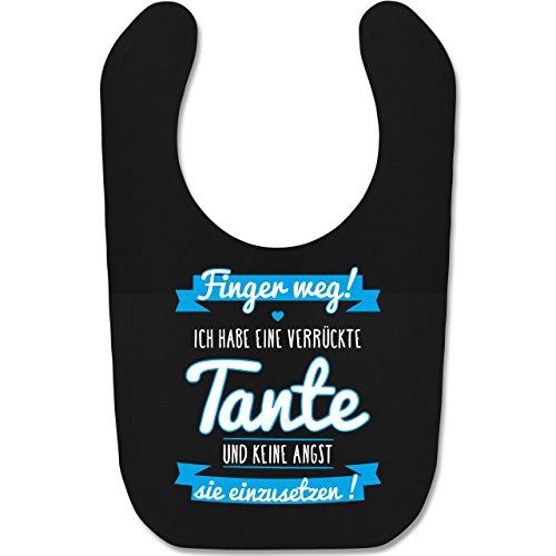 Shirtracer Sprüche Baby - Ich habe eine verrückte Tante Blau - Unisize - Schwarz - geschenke zur taufe - BZ12 - Baby Lätzchen Baumwolle