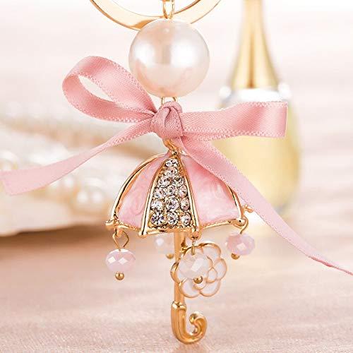 HZOLJVN Rhinestone Paraguas Llavero Bolso Femenino Cinta Adorno Pequeño Perlas Flor Colgante Accesorios para El Coche Encanto Llavero