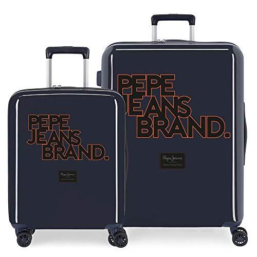 Pepe Jeans Troy Juego de Maletas Azul 55/70 cms Rígida ABS Cierre TSA Integrado 119,5L 7,1 kgs 4 Ruedas Dobles Equipaje de Mano