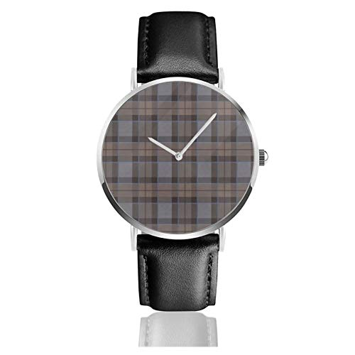 Fraser Jagd Tartan Plaid Outlander Classic Casual Quarzuhr Edelstahl Schwarz Lederband Uhren Armbanduhren