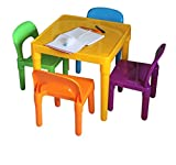 HH Home Hut Large Table and Chair Set Large Childrens Plastic - Kids Toddlers Childs - Gift