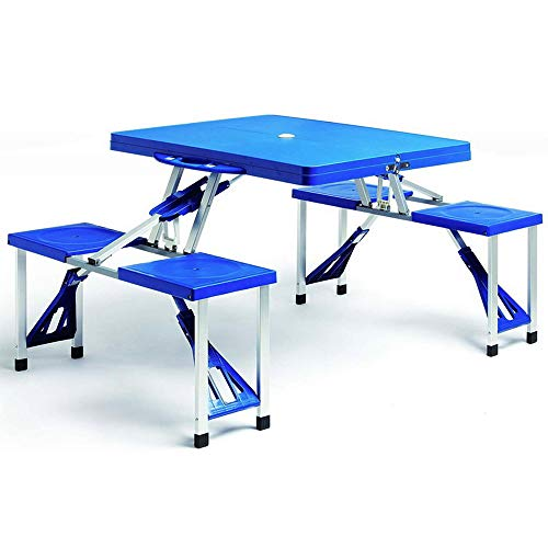 Deuba Alu Campingtisch Koffertisch Klappbar mit Stühlen Tragegriff Schirmhalterung Sitzgarnitur Campingmöbel Set Camping