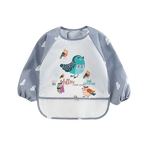 Bavaglino Grembiule per Neonato Bambino Unisex Impermeabile con Maniche Lunghe Stampa di Cartoni Animati per Mangiare Dipingere Giocare (Uccello, Taglia Unica)