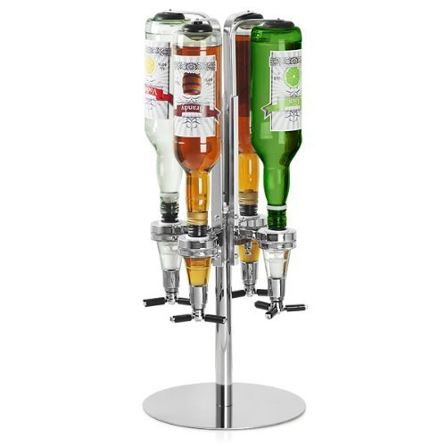 bar@drinkstuff - Soporte Giratorio Para 4 botellas en Caja De Regalo | Dispensador De Optics Giratorio Para Bebidas