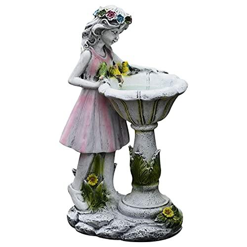 LICHAO Estatua, Escultura de Personajes de ángel, Resina de decoración de la lámpara Solar de Hadas, decoración de jardinería de jardín al Aire Libre, luz de jardín al Aire Libre