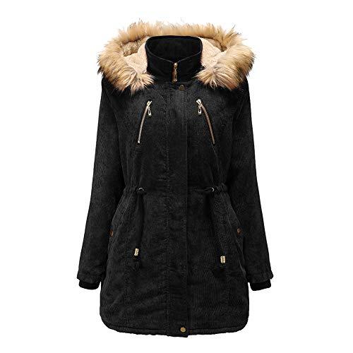 Comcrib Damen Wintermantel Parker Winddicht Atmungsaktiv Warme Außenjacke Baumwolljacke Kurzmantel Frauen Fleece Gefütterte Jacke