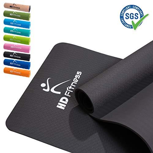 HD Fitness Gym Yogamatte, rutschfest, TPE, Gymnastikmatte, Fitnessmatte, Sportmatte, Bodenmatte mit Tasche & Trageband,/ 183x61x0,8cm, SGS geprüft