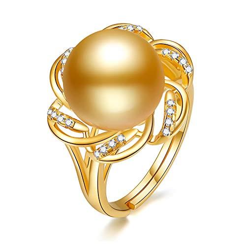 HLMAX Perla Dorada 11-12 Mm Anillo En Plata De Ley 925 Joyería Fina para Mujer, Regalos para Fiestas, Bodas, Aniversarios, Compromisos, Cumpleaños