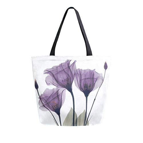 Purple Flower Large Women Canvas Tote Bags Casual Shoulder Bag Handbag for Girl Violet Floral Watercolor Vintage Grocery Shopping Bag Books Laptop Gym Bags for Outdoor School Work Travel Beach Sports