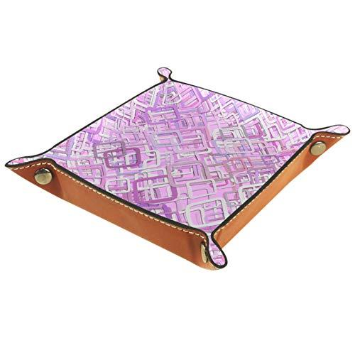 Bandeja de piel para mesita de noche, organizador de joyas para hombres, monedero de viaje, bandeja de valet, color morado y rosa