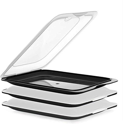 TATAY Set mit 3 Wurstbehälter Fresh, BPA frei, Mehrweg, Stackables, Geschirrspüler & MWO, Schwarz. Maßnahmen 17cm x 3,2cm x 25,2cm