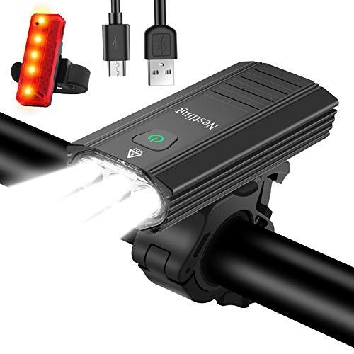 Nestling® Luz Bicicleta LED Recargable USB,3000 Lumen 5200 mAh Potente Luces Bicicleta Delantera y Trasera, 6 Iluminación Modos, IPX6 Impermeable Luces Seguridad para Ciclismo de Montaña y Carretera