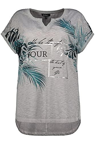 Ulla Popken Damen große Größen Übergrößen Plus Size T-Shirt, Dschungel, Oversized, Glitzerbund, Halbarm hellgrau-Melange 50+ 793488134-50+