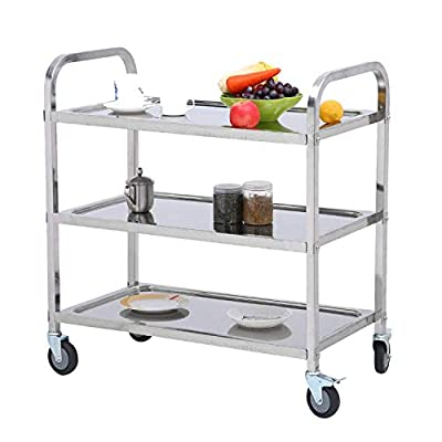 Nisorpa 3 Tier Stainless Steel Utility Rolling Cart Kitchen Island Trolley Serving Catering Storage Cart with Locking Wheels for Hotels Restaurant Home Use by Nisorpa