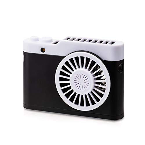 Hangende Halsventilator met nachtlampje Draagbare USB Opladen voor Outdoor Office Home Zwart