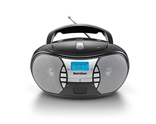 Karcher RR 5025-B tragbares CD Radio (CD-Player, UKW Radio, Batterie/Netzbetrieb, AUX-In) schwarz
