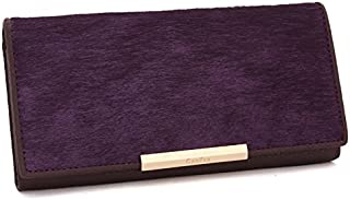 Leather Women's Wallet Long Horsehair Leather Women's Wallet Clutch Wallet Women's Trendy Clutch Waterproof (Color : Purple, Size : S)