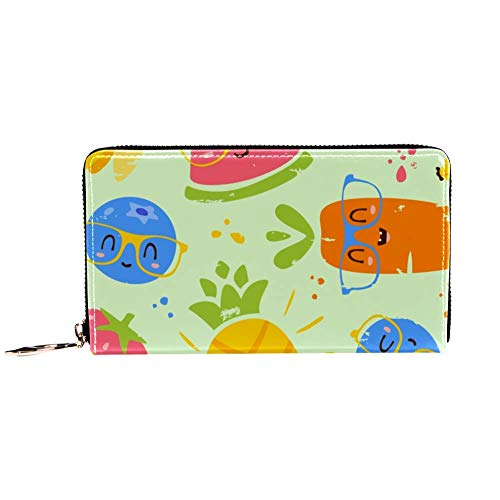 XCNGG Monedero de Cuero Frutas de Dibujos Animados en Vasos Carteras Portatarjetas...