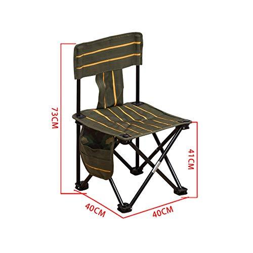 BFQY FH Chaise De Pêche Pliable, Chaise De Loisirs Extérieure Multifonctionnelle Portative Camping Barbecue, Petit Tabouret Auto-pilotant, 2 Tailles, Vert Foncé (Taille : 40 × 40 × 73cm)
