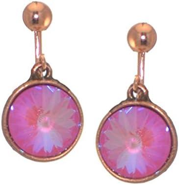 RIVOLI Antique Copper Ultra Pink Crystal Clip On Earrings