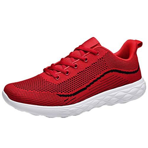 Fenverk Sportschuhe Herren Laufschuhe Turnschuhe Freizeitschuhe Atmungsaktiv Sneakers Mode StraßEnlaufschuhe Sneaker Schuhe Luftkissenschuhe Joggingschuhe EU38-46(A rot,42 EU)