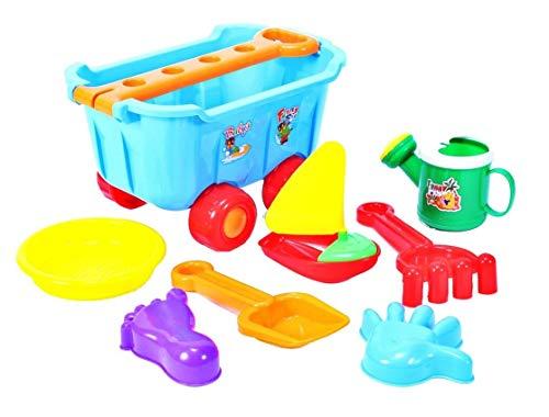 Carrito con juguete de arena (pala, rastrillo, regadera, barco, formas de arena UVM), carrito de playa para niños – carro de la compra carro carro de transporte carrito de arena accesorios