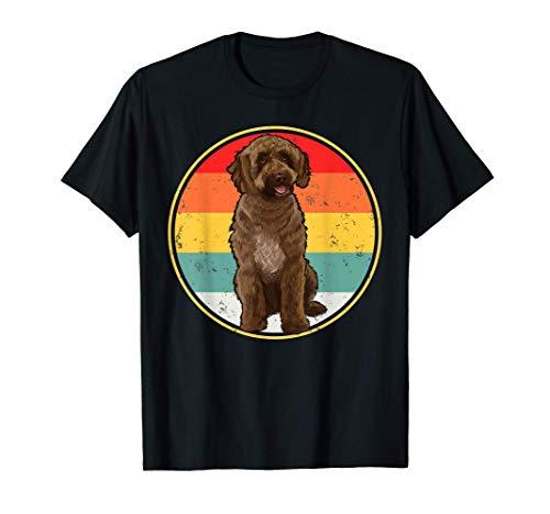 Puesta De Sol Vintage Retro Perro De Agua Español Camiseta