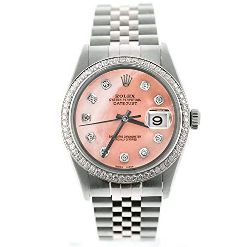 Rolex Mens Datejust 16014 36mm Stainless Steel Watch Custom Added Pink Mother of Pearl Diamond Dial & Custom 1CT Diamond Bezel (Certified Preowned)