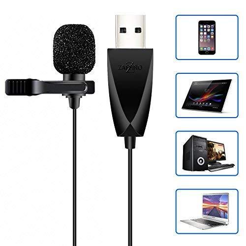 USB Mikrofon, Zaffiro Omnidirektionaler Kondensator Lavalier Clip On Mic f¨¹r Computer, Laptop, Podcast, Mac,PS4,Interviews, Netzwerksingen, Skype, MSN, Audio Video Recording