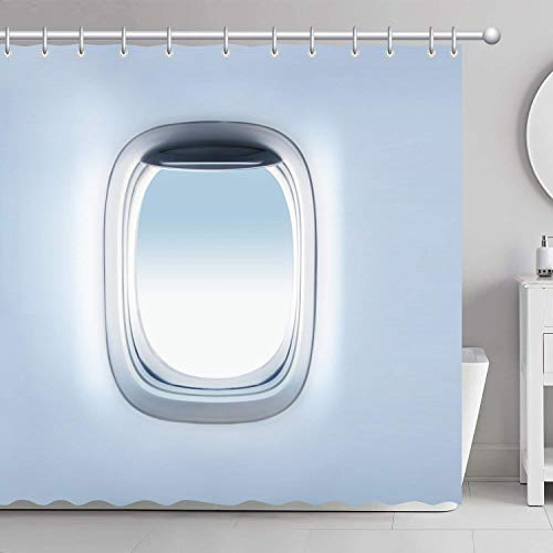AdaCrazy Flugzeug Flugzeug Fenster Duschvorhang 3D-Druck Wasserdicht beschichtetes Polyestergewebe Bad mit 12 Haken 71 Zoll