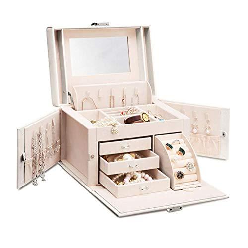ZXL Cosmetic Organizers make-up tas slaapkamer make-up spiegel meisjes juwelendoos grote capaciteit PU reistas geschenk handtas (kleur: zwart, grootte: 25,5 * 18,5 * 17,5 cm)