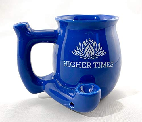 Ceramic Novelty Herb Coffee Mug for Women and Men with built-in pipe Perfect Mug Cup Gift for Coffee Lovers – Blue 11 Oz