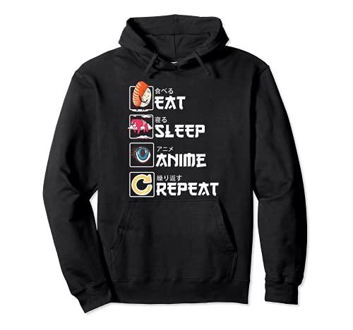 felpa uomo anime Manga Kawaiano Giapponese - Cute Eat Sleep Anime Repeat Felpa con Cappuccio